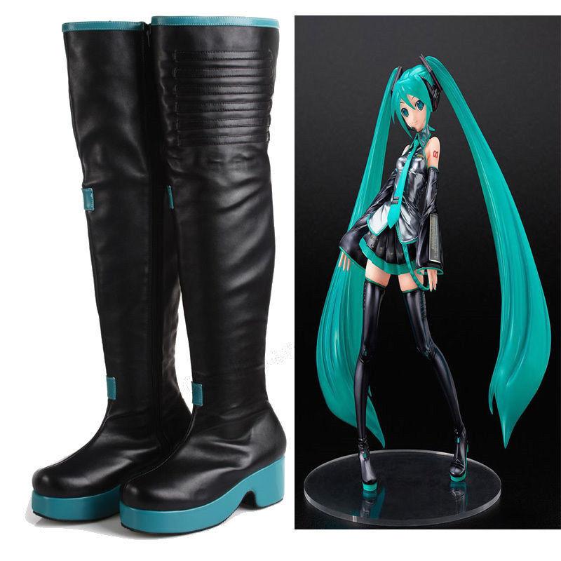 Vocaloid Hatsune Miku Cosplay botas Zapatos Dama Dama Dama Rodilla Bota Animé disfraz hecho a mano  100% garantía genuina de contador