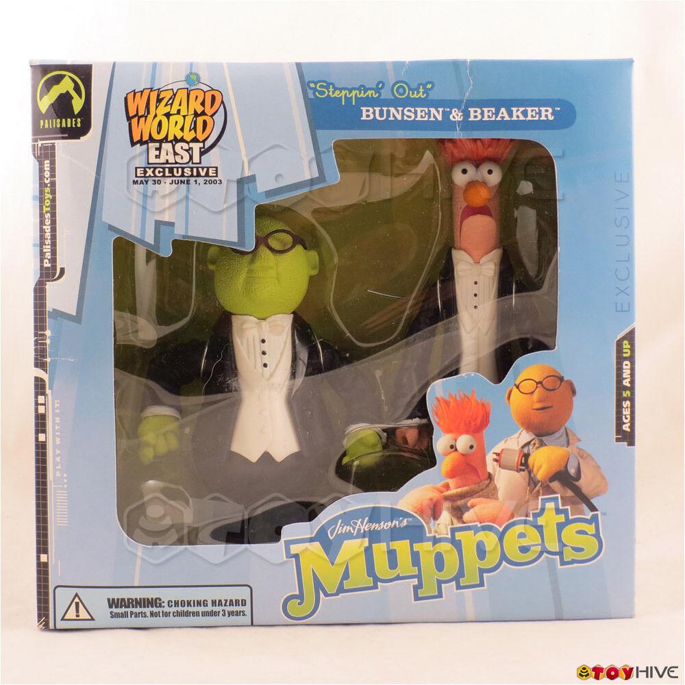 Mupparna Palisades Steppin 'Out Bunsen Honeydew Beaker Wizard värld 2003 sliten låda