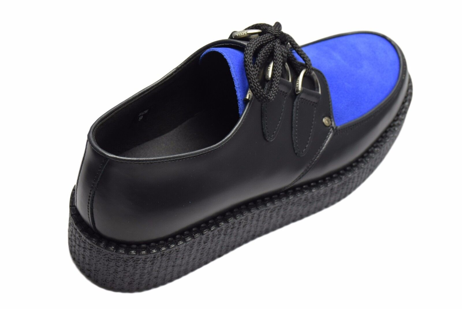 Steel Ground Schuhes schwarz Leder Blau Suede Front Low Creepers D Ring Casual