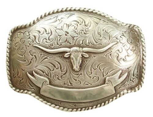 Western Cowboy Rodeo Decor Raised Silver Plated  Longhorn Belt Buckle