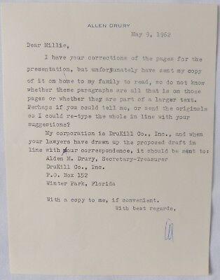 Movies Constructive Allen Drury Letter Signed/1962 Entertainment Memorabilia
