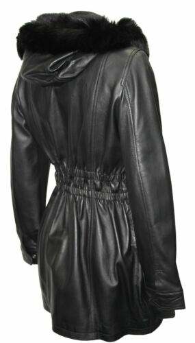 Cecil Ladies New Black Trench Mid Length Fur Hooded Designer Leather Jacket Coat
