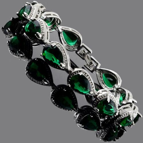 environ 17.78 cm Poire Tennis Bracelet Vert Émeraude Zircone Cubique or blanc rempli CADEAU 7 in
