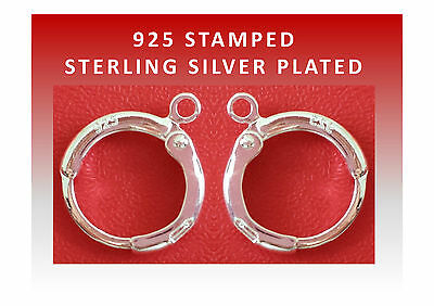 Round Lever back Earring Hooks 925 Stamped Silver Plated DIY Jewellery