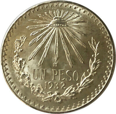1932 .720 FINE SILVER MEXICO CAP /& RAYS 1 UN PESO CHOICE BU