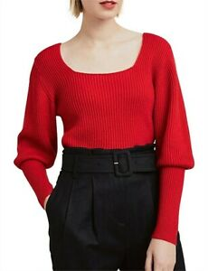 Nwt Witchery Square Neck Full Sleeve Knit [large] Red Jumper Cardigan Sweat