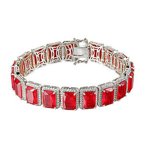 62416c02c4ebf Details about 14K White Gold Finish Mens Garnet Ruby Red Birdman Bracelet  Lab Diamond