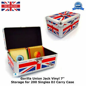 Gorilla-Union-Jack-Vinyl-7-034-Storage-for-200-Record-Singles-DJ-Carry-Case