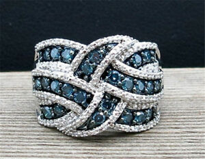 Classy-925-Silver-Blue-Sapphire-Jewelry-Wedding-Engagement-Party-Ring-Size-6-10