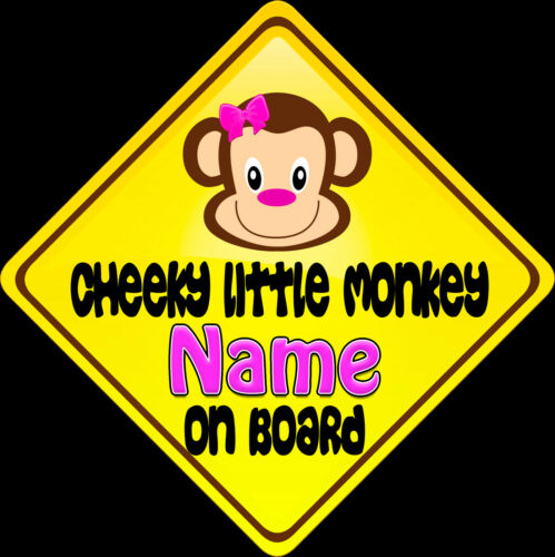 Child on Board Car sign Cheeky Little Monkey Pink