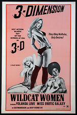 WILDCAT WOMEN (AKA BLACK LOLITA) YOLANDA LOVE 3-D SEXPLOITATION 1974 1-SHEET