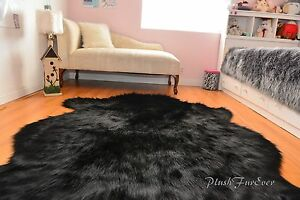 Image Is Loading Sheepskin Flokati Nursery Black Bear Faux Fur Area