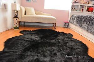 Image Is Loading Sheepskin Flokati Nursery Black Buffalo Faux Fur Area