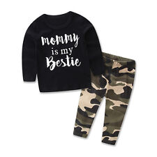 Toddler Kids Baby Boy Tops Blouse T-Shirt+Camouflage Pants Outfits Clothes Suit