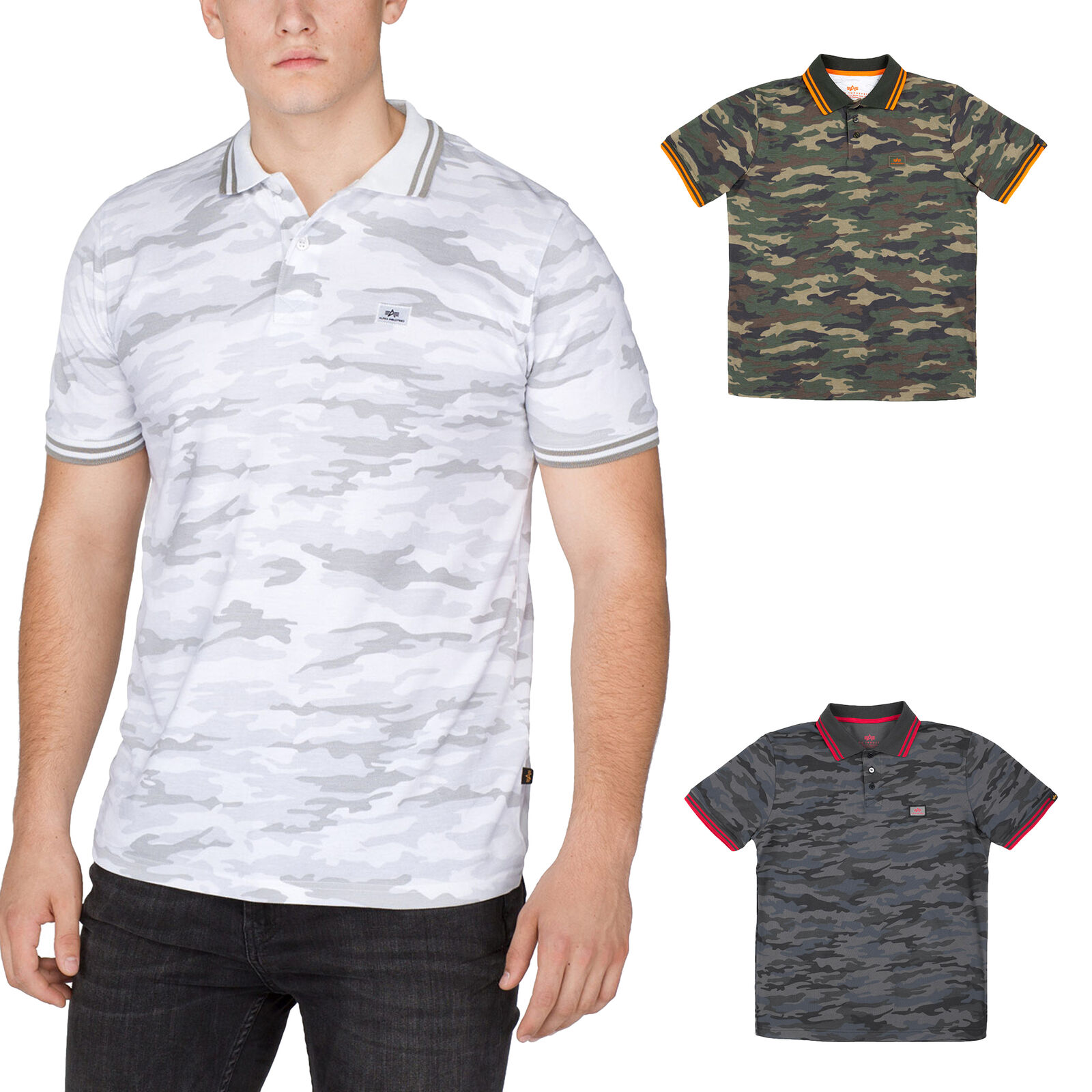 Alpha Industries Men's Polo Shirt Twin Stripe Camo short Sleeve S to 3XL