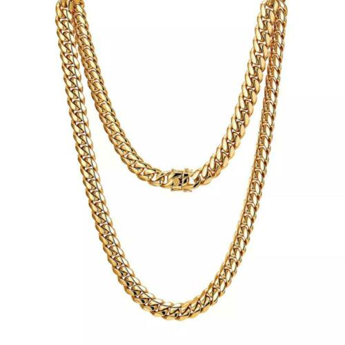 Herren Panzerkette Cuban Miami Halskette 24 Karat Gold vergoldet Hip Hop K3320