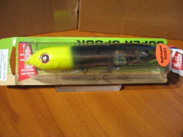 Heddon Super Spook X925624 Black Chartreuse Gold Insert Saltwater Hooks Lures for sale online