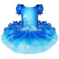 Girls Crystal Shoes Ballet Tutu Ballerina Fairy Dance Costume Fancy Dress 2-7Yrs