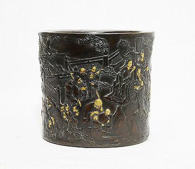 Chinese  Bronze  Brush  Pot  With  Mark