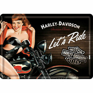 Nostalgic Art Blechpostkarte Harley Davidson Let´s Ride Biker Babe Pin Up