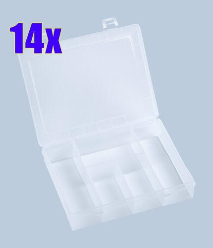 14x Angelkoffer PRO 5 Fächer klar NEU Haken-Magazin Köderbox Angelbox Tackle-Box