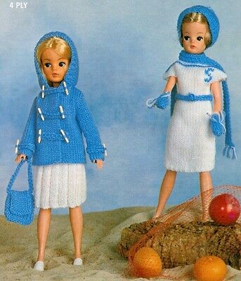 KNITTING PATTERN TO MAKE VINTAGE SINDY BARBIE DOLLS CLOTHES 7 items to make