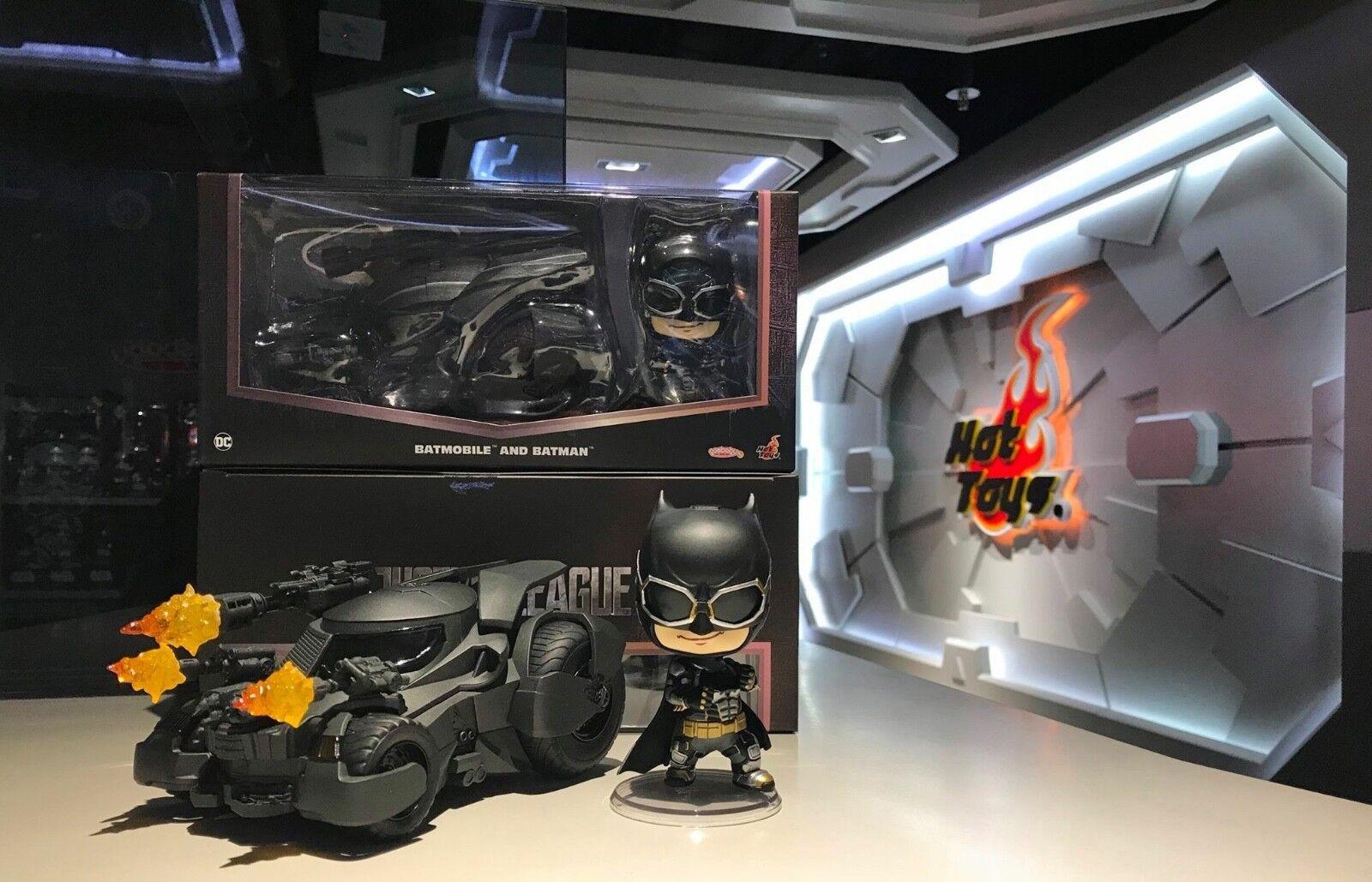 Heißes spielzeug gerechtigkeitsliga batman & batmobil cosbaby sammlerstück setzen