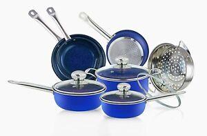 10 Piece Blue Sapphire Cookware Set Induction Nonstick