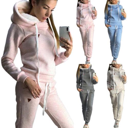 Womens Tracksuit Hoodie Sweatshirt Tops Jogging Pants Set Sportswear Casual Suit