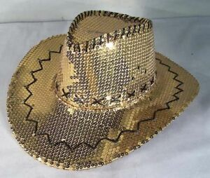 3ad72af5a19 SEQUIN GOLD COWBOY HAT party supply hats dance supplies cowgirl ...