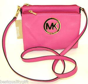 new michael kors fulton zinnia pink genuine leather crossbody hand rh ebay com