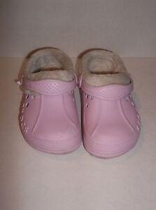 7c59405c79b2 Girl s Crocs Pink Lined Polar Blitzen Clogs US Size C 10 11