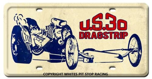 30 DRAGSTRIP GARY INDIANA METAL LICENCE PLATE COPYRIGHT WHITES PIT STOP U.S