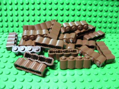 "** 25 CT LOT **  Lego NEW reddish brown 1 x 4 modified /""log/"" brick pieces"