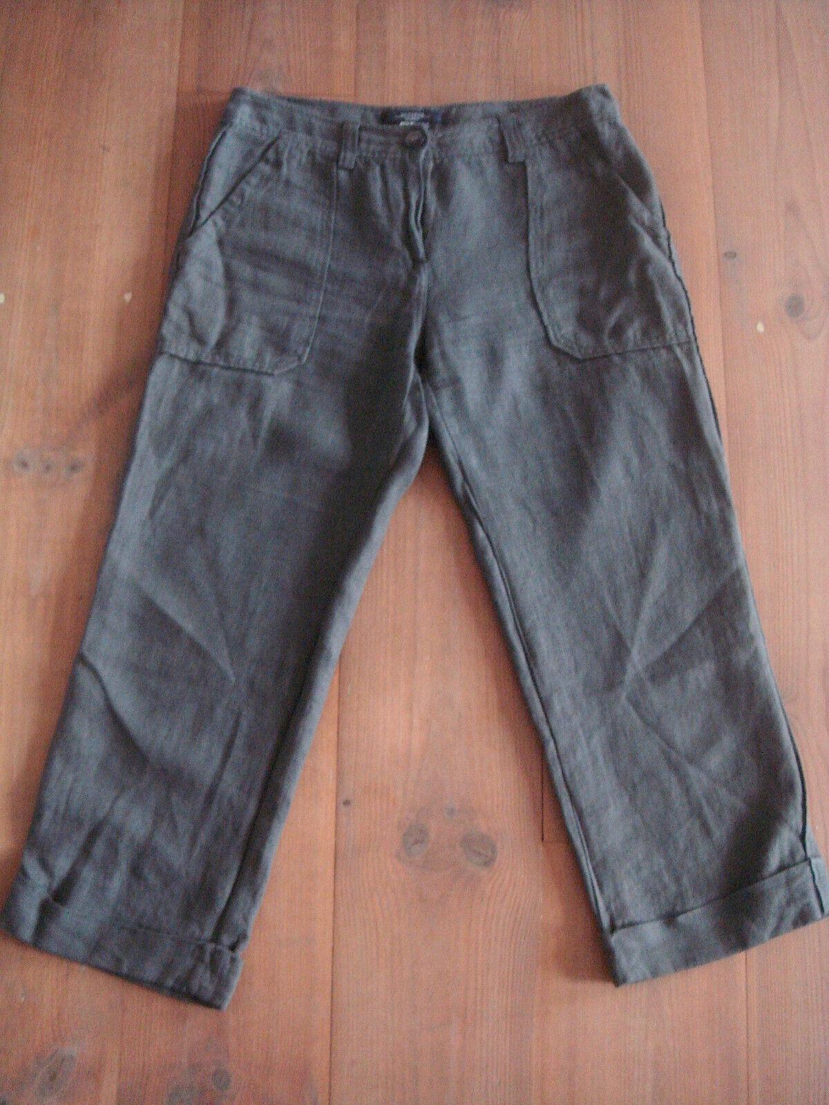 MAX MARA WEEKEND Hose 7 8 Länge gerades Bein bequem Khaki-green 100% Leinen Gr.38