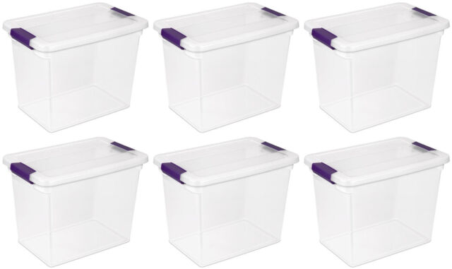 6 Pack) Sterilite 17631706 27-Quart ClearView Latch Box Storage Tote Container