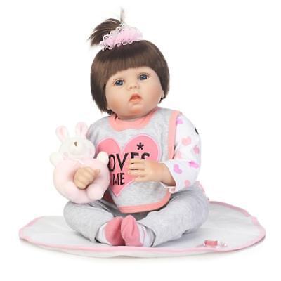 "22/"" Lovable Newborn Baby Silicone Reborn Alive Doll Handmade Pretty Bib Kid Toys"