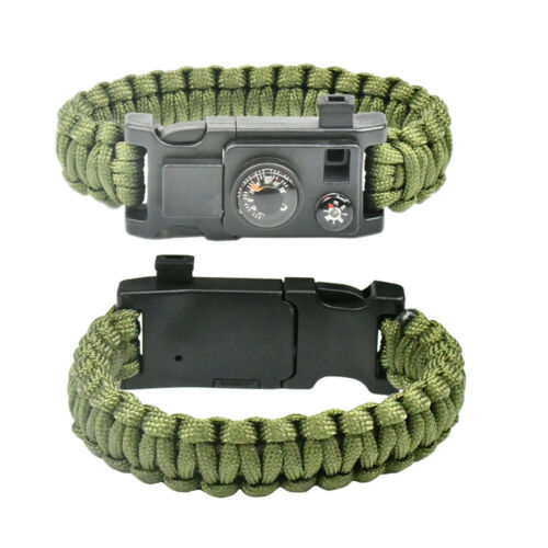 10IN1 Outdoor Emergency Survival Paracord Bracelet Gear Compass Thermometer N2
