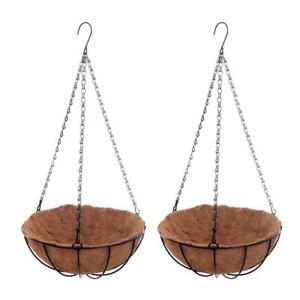 2-pezzi-Hanging-Coconut-Basket-Fioriera-Vaso-per-fiori-in-metallo-nero