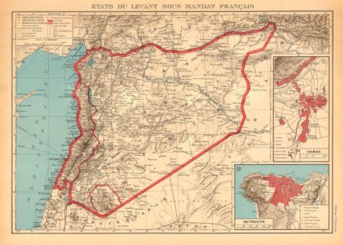 FRENCH SYRIA LEBANON MANDATE Syrie Liban français Damascus Beirut plans 1938 map