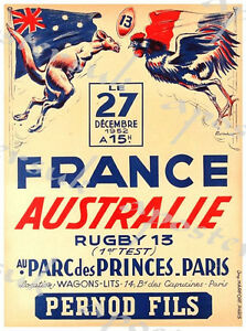 Vintage France Australia Rugby International Poster Print A3//A4