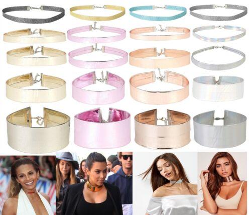 Womens New Holographic Choker Necklace DollzKill Style Glitter Fashion Jewellery