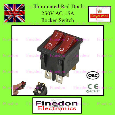 Double Rouge Lumineux 250 V AC 15 A On//OFF SPST Boat Rocker Switch UK Vendeur