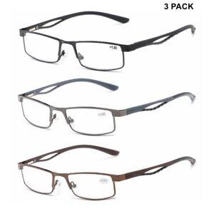 747543ef59f 3 PACK Mens Reading Glasses Spring Hinges Business Readers Fashion + ...