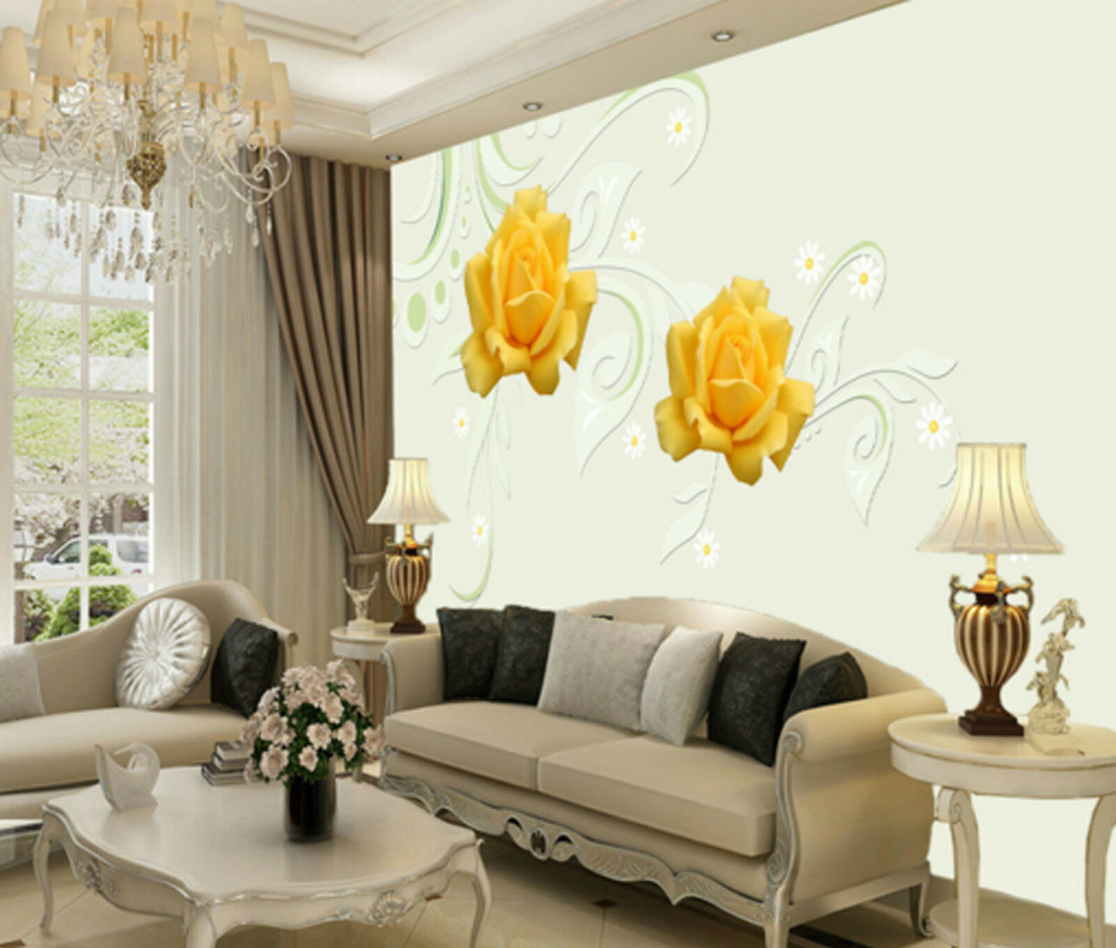 3D Two Gelb Flowers 2245 Wall Paper Wall Print Decal Wall AJ WALLPAPER CA