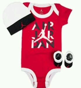 36c00c83f176 AIR JORDAN BABY BOY 3 PIECE INFANT SET BODYSUIT WHITE CAP BOOTIES ...