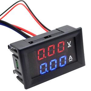 Digital-DC-LED-Voltmeter-Amperemeter-2-in-1-DC-0-100V-10A-Rot-Blau-Gift-Q0D0