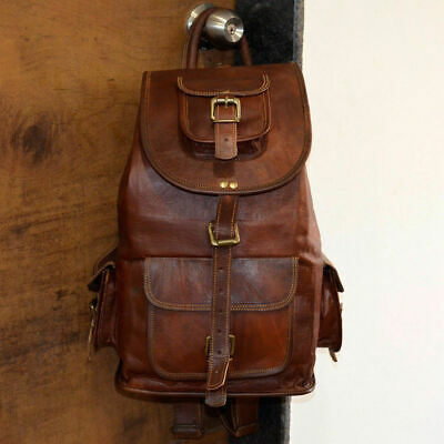 New Large Genuine Leather Backpack Rucksack Travel Bag For Men/'s and Women/'s