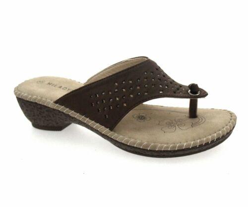 Ladies //Girl  Brown  Slip On Toe Post Mule.Various Sizes.New In Poly Bags.