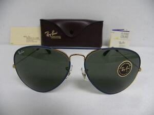 c09b92b3d55 New Vintage B L Ray Ban Large Metal II Flying Colors Blue Gold 62mm ...